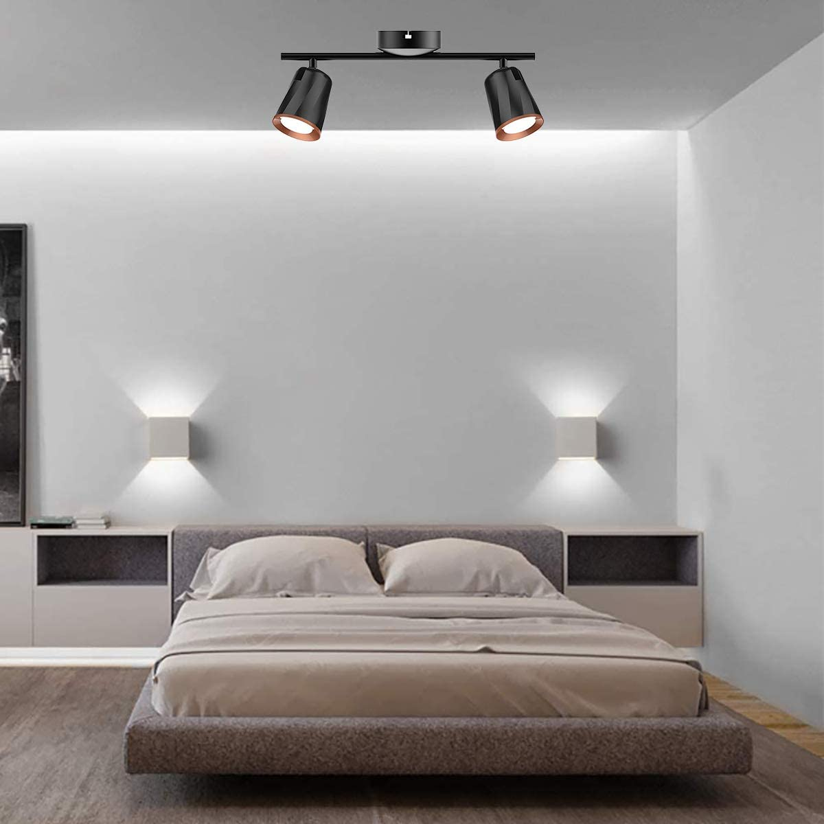 Cgc Indoor Adjustable Black Double Twin Ceiling Spot Led Light Bar 4000k Natural White Colour Temperature Bedroom Kitchen Lounge Dining Room Ceiling Spots Ceiling Lighting Umoonproductions Com