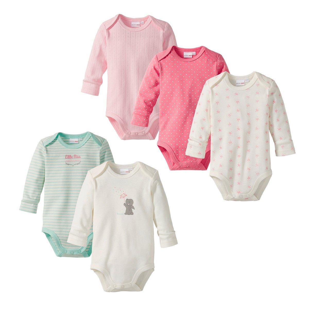 Bornino 5er Pack Bodys Langarm/Baby Bekleidung Mädchen / 100% Baumwolle/rosé/wollweiß/Aqua