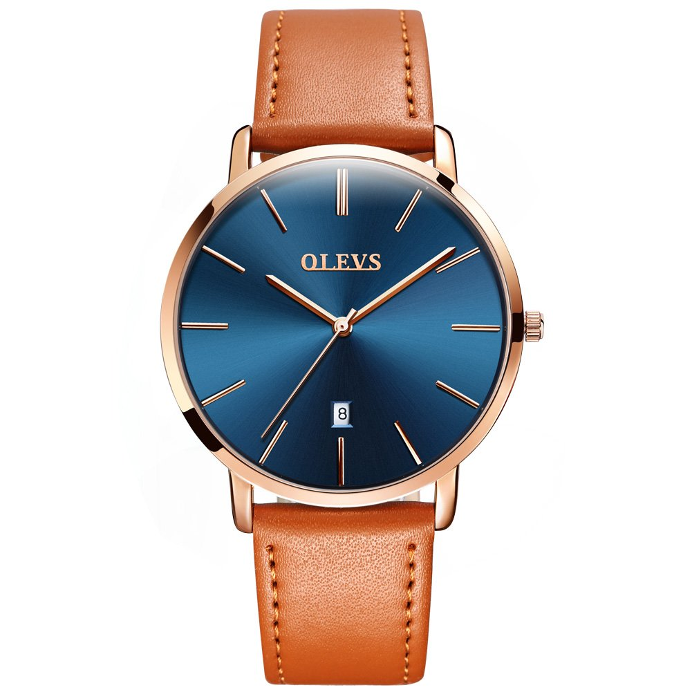 Mens Ultra Thin Minimalist Leather Strap Watches, Business Gift Casual Wrist Watch with Tan Yellow Black Brown Cowhide Leather Band Watches Date Water Resistance Watch for Young Men, 2019 OLEVS Brand