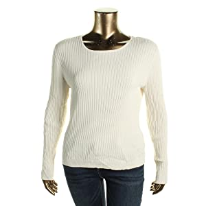 St John Womens Wool Blend Ribbed Knit Pullover Sweater
