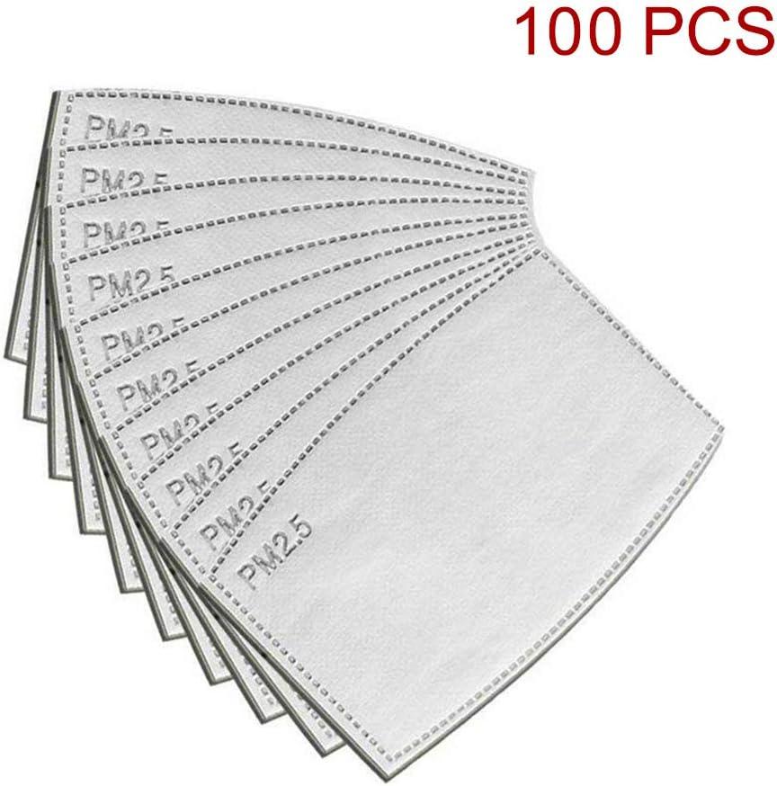 Samseed - 100 filtros de Carbono Activo PM2,5, 5 Capas reemplazables, antiempañamiento, Filtro Protector para Boca para Exteriores