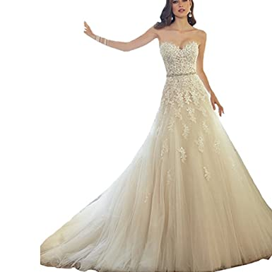 Rudina Sexy Lace Flower Wedding Dresses White Strapless A-line Bridal Prom Gowns Belt at Amazon Womens Clothing store: