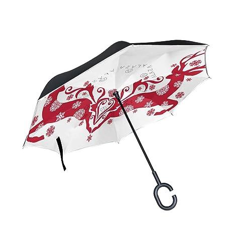 eb2dec553b2ad Amazon.com : imobaby Sika Deer Inverted Umbrella - Reverse Folding ...