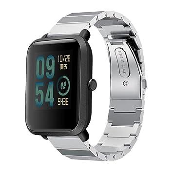 Zolimx Xiaomi Huami Amazfit Bip Pulsera Genuina Pulsera de Acero Inoxidable Reloj Banda Correa con Herramienta de Desmontaje (Plata)
