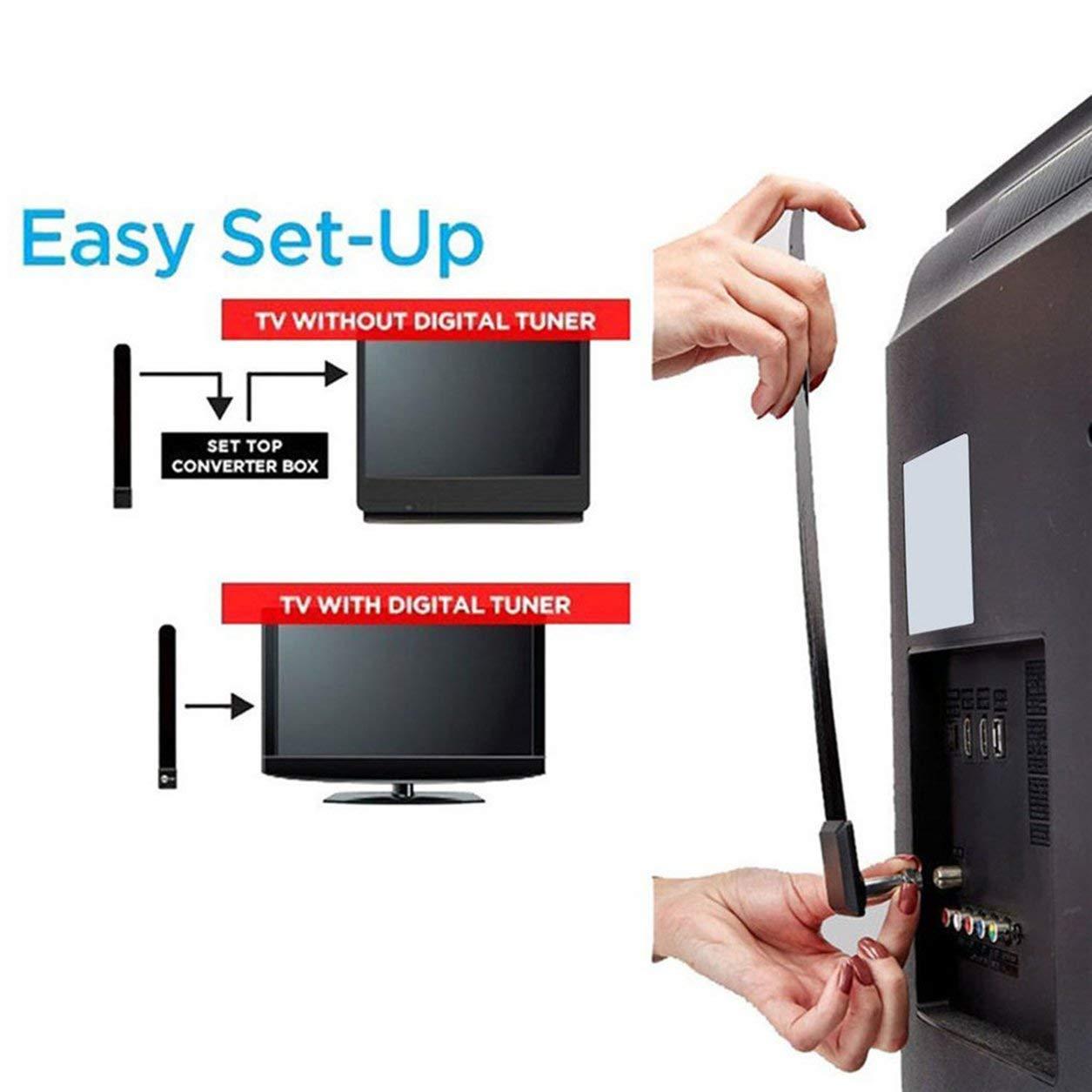 Black Digital Aerial Clear TV Key HDTV Free TV Stick 1080p HD Indoor TV Aerial Dailyinshop