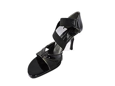 a10b67da263 Image Unavailable. Image not available for. Color  Donald J Pliner Womens  Jeruse Open Toe Black Patent Leather ...