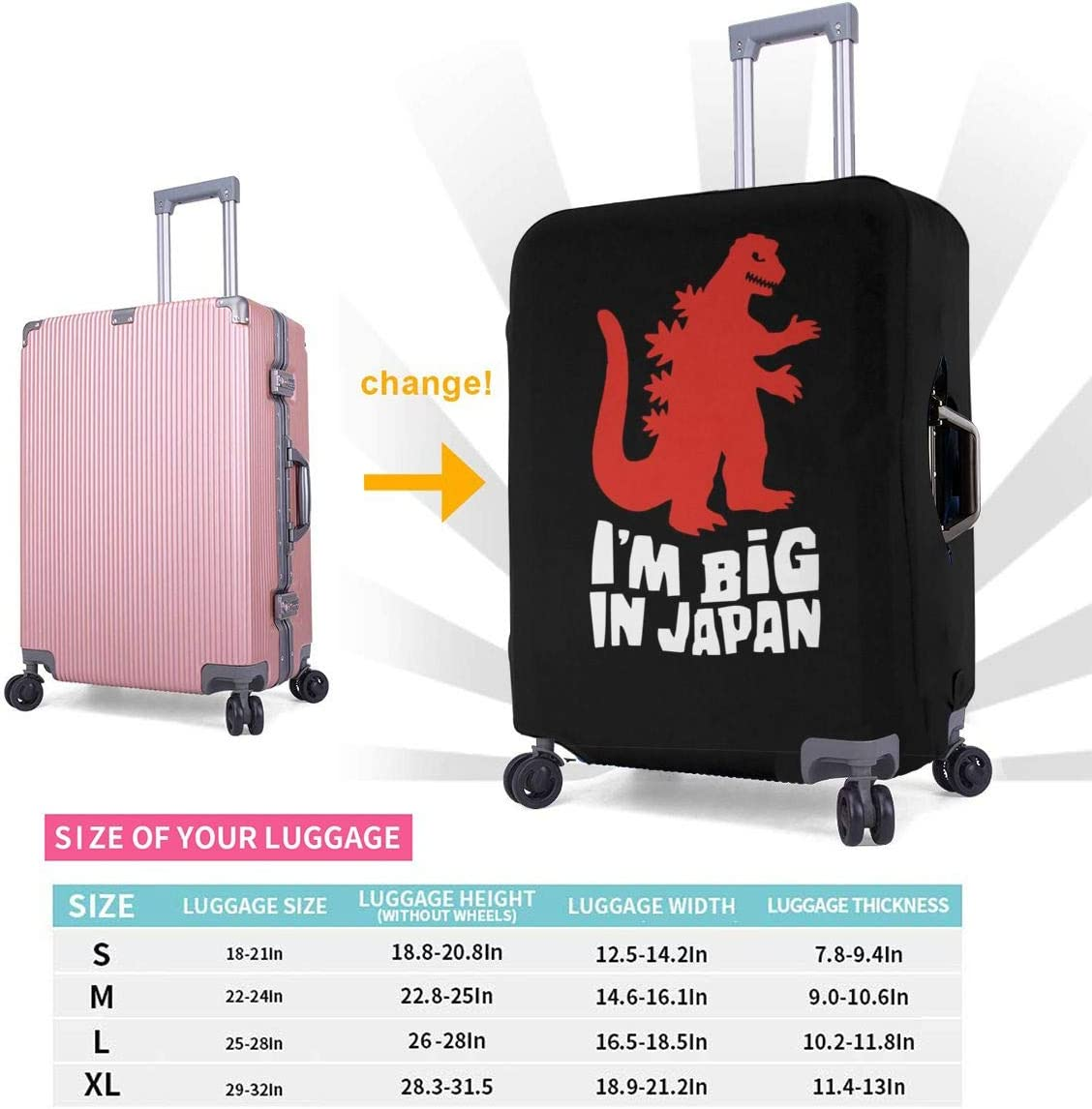 God-zilla Im Big In Japan Elastic Travel Luggage Cover,Double Print Fashion Washable Suitcase Protective Cover Fit For 18-32 Inch Luggage