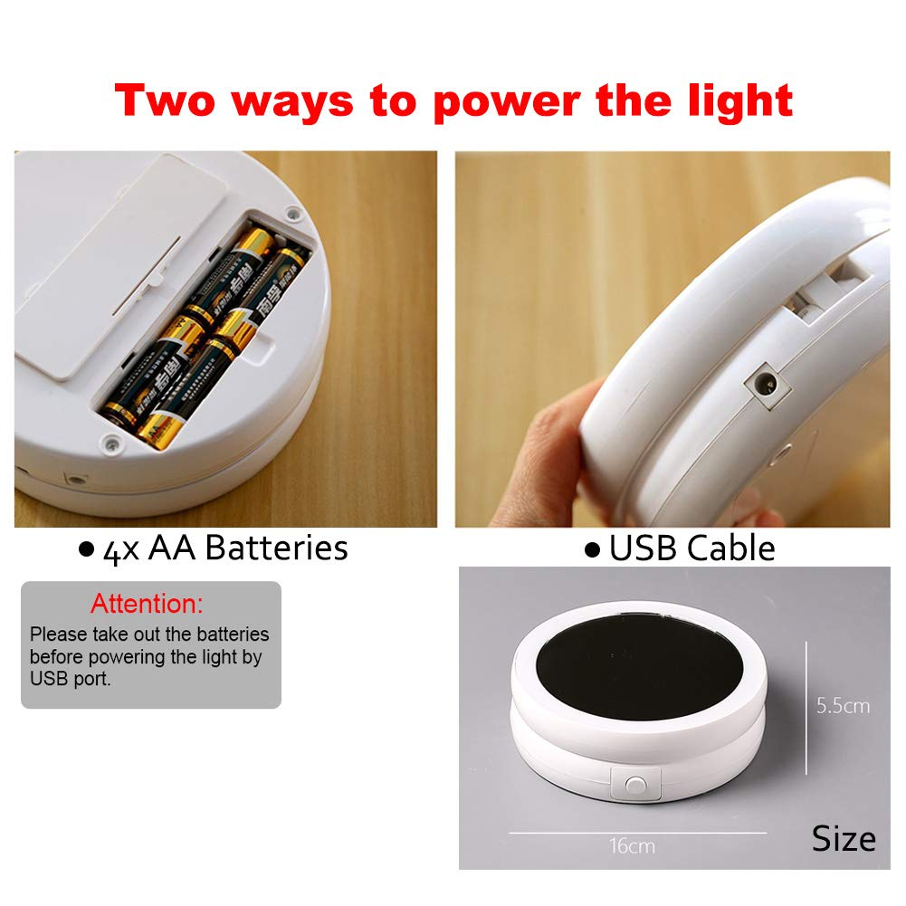 Aifusi Miroir de Table /à LED grossissant 1X//10X Double Face Alimentation Portable par Piles ou USB pour Lampe de Bureau
