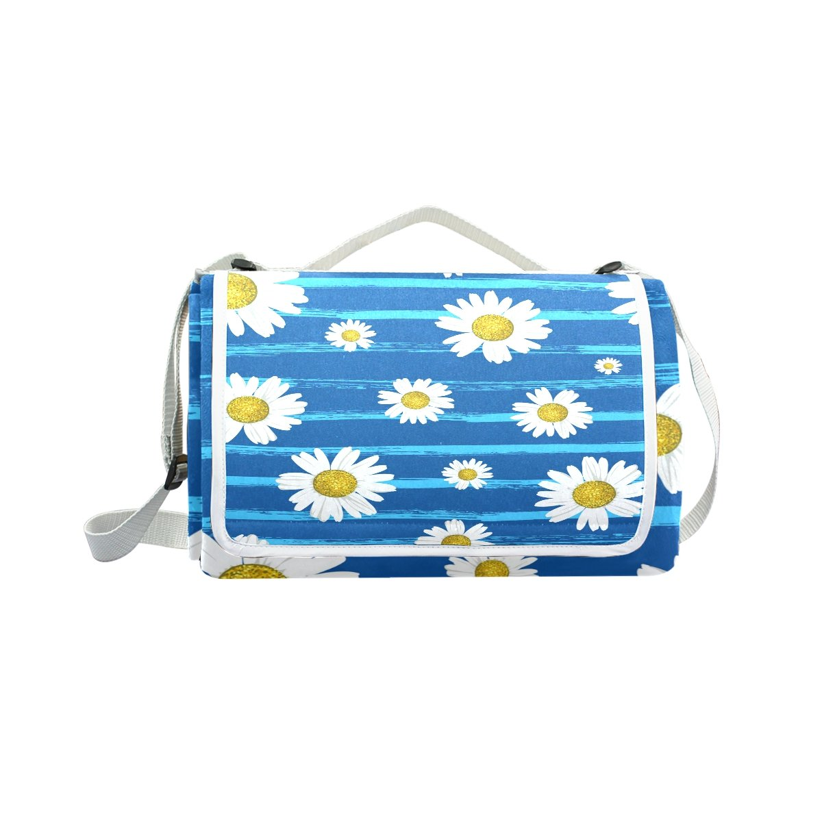 My Little Nest Outdoor Camping Picnic Beach Blanket Mat White Daisies Lightweight Portable Folding Travel Pad 57'' x 59''
