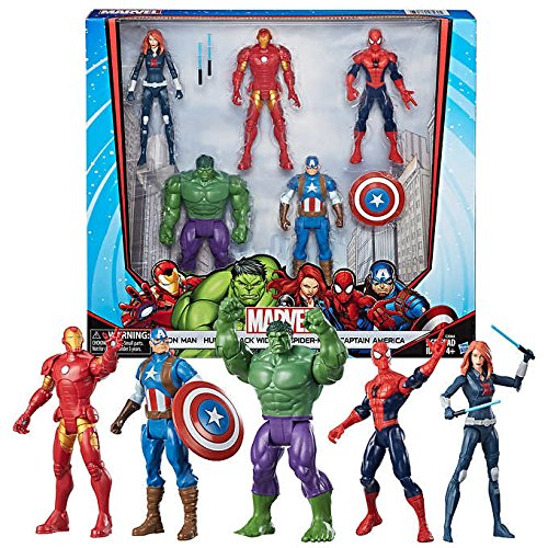 ALL NEW!!! Marvel Core Characters Action Figures 5-Pack includes Black Widow, Iron Man, Spider-Man, Captain America, and Hulk, 6