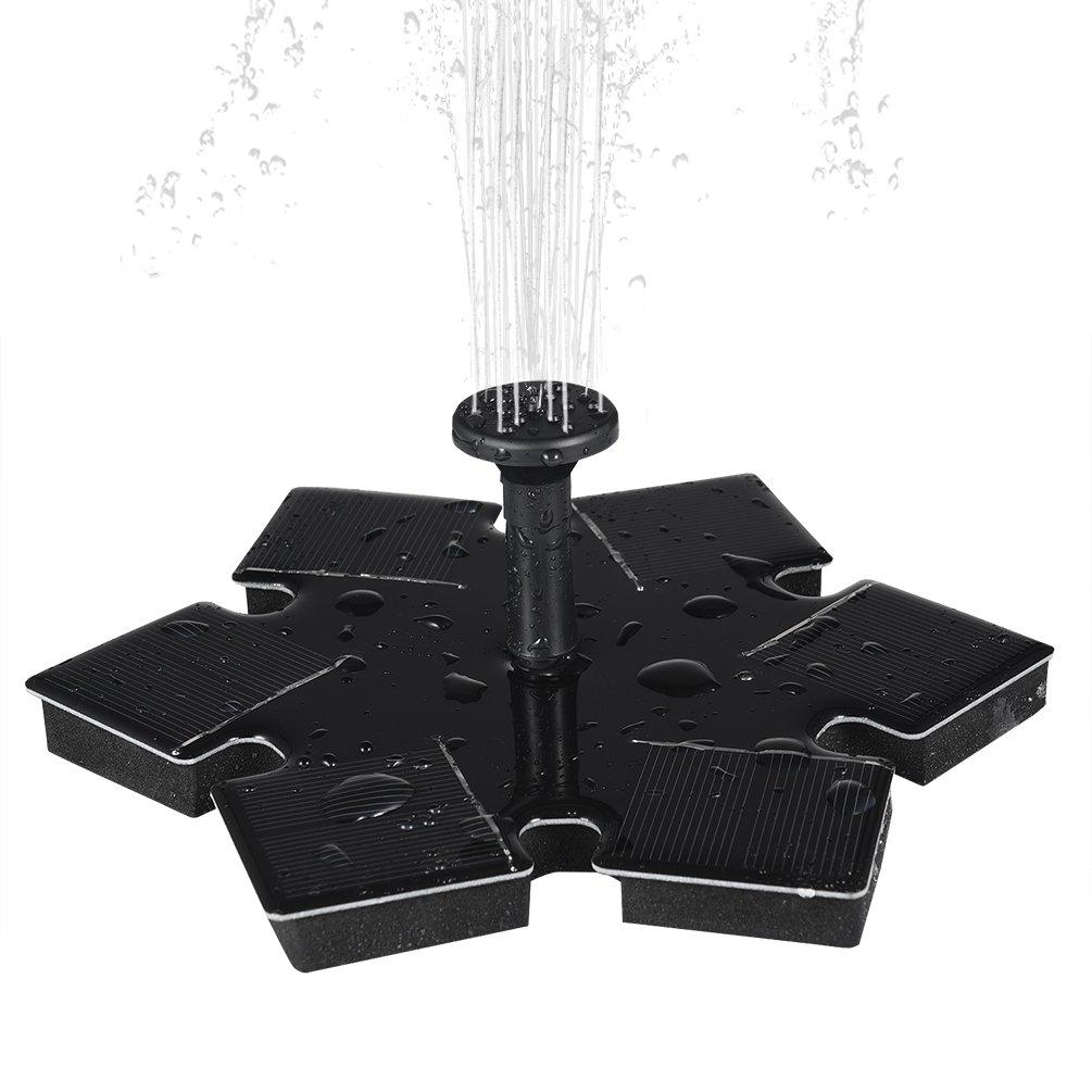 Ledgle [Nouvelle Version] 1.5W Mini Fontaine Solaire Jardin Pompe Flottante Pompe à Eau Solaire avec Débit Maximum 180L/H et Jet D'eau 45CM pour la Décoration de Baignoire D'oiseaux, Etang, Bassin