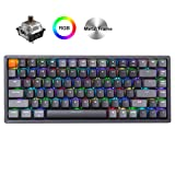 Keychron K2 Wireless Bluetooth/USB Wired Gaming Mechanical Keyboard, Compact 84 Keys RGB LED Backlit Brown Switch N-Key Rollover, Aluminum Frame for Mac Windows (Color: Brown Switch)