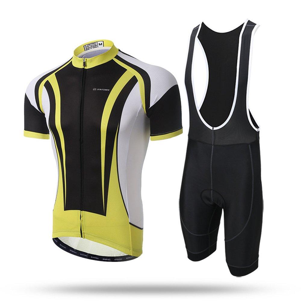 Pinjeer Taurus Design Gelb Hauptfarbe Herren Sommerkleider Outdoorbekleidung für Männer Fahrradreiten, Atmungsaktive Fahrradreitkleidung Ausgezeichnete Elastizität Jersey Shorts Ärmel-Sets Hosen