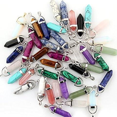 Mutilcolor 50pcs Gemstone Bullet Shape Healing Pointed Chakra Beads Crystal Quartz Stone Randow Color Pendants for Necklace Jewelry - Gemstone Point Pendant
