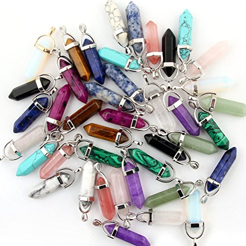 Shape Pendant Bead (Mutilcolor 50pcs Gemstone Bullet Shape Healing Pointed Chakra Beads Crystal Quartz Stone Randow Color Pendants for Necklace Jewelry Making)