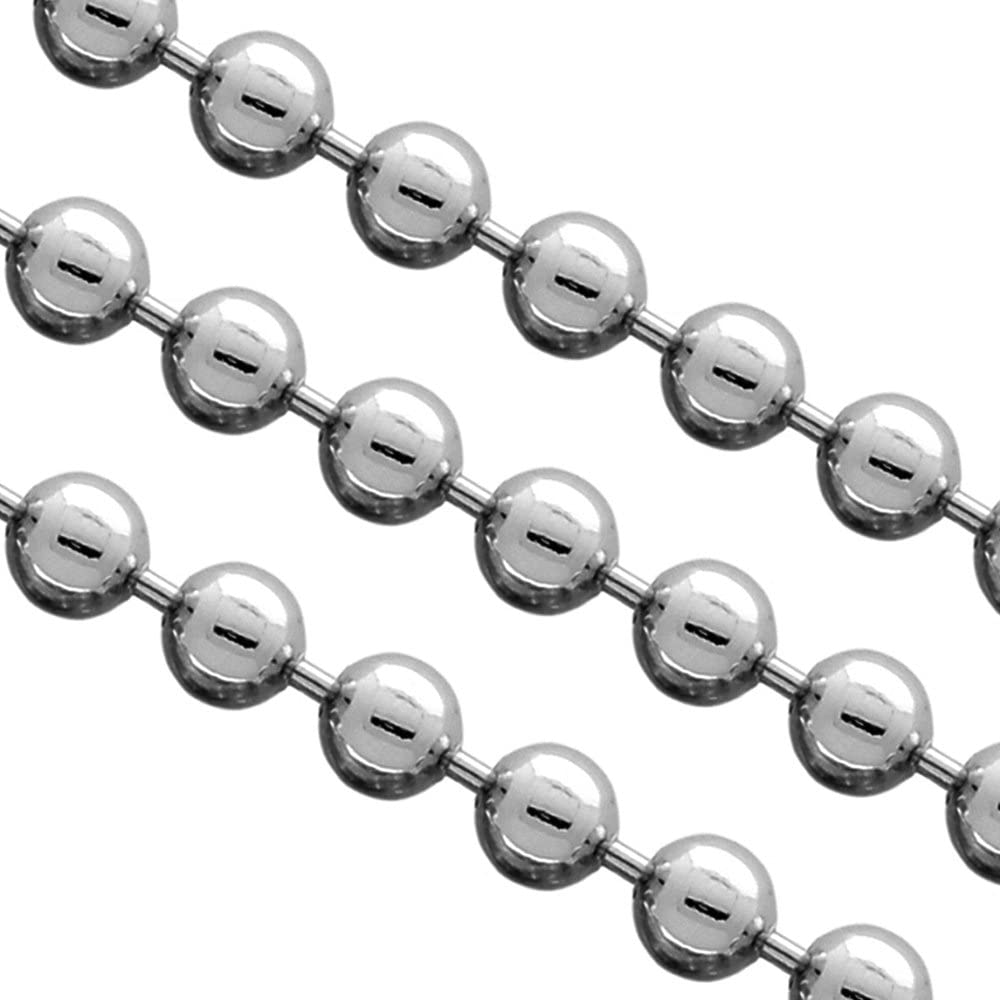 6mm Large Polished Stainless Steel Bead Chain Silver Necklace
