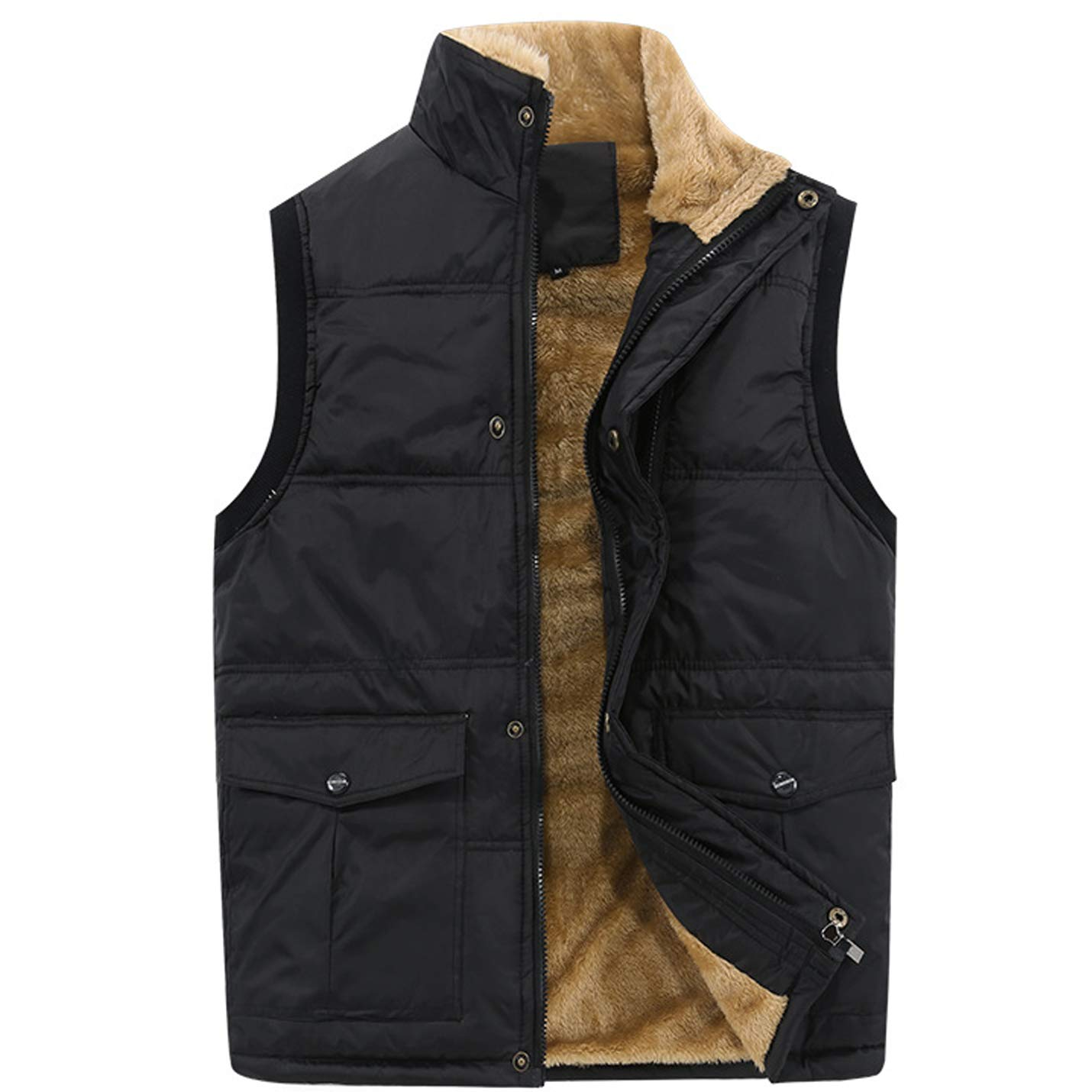 Flygo Men's Winter Warm Outdoor Padded Puffer Vest Thick Fleece Lined Sleeveless Jacket (Style 01 Black, Large+) by Flygo