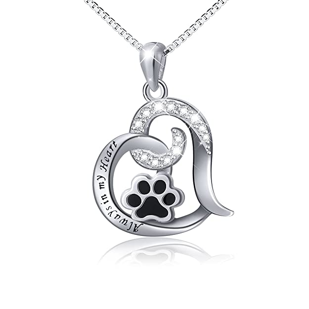 "Paw Necklace 925 Sterling Silver Cute Puppy Paw Print Love Heart Pendant Necklace for Women Girls, Box Chain 18"" (Engraved Always in My Heart)"