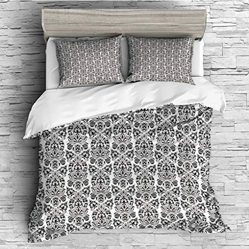 ver 2 Pillow Shams)/All Seasons/Home Comforter Bedding Sets Duvet Cover Sets for Adult Kids/Double/Flower,Floral Paisley Design with Eastern Effects Curved Leaves and Swirls Orient ()