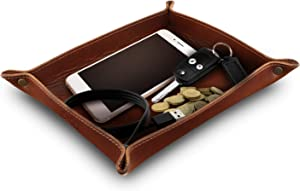 Londo Genuine Leather Tray Organizer Storage for Wallets Watches Keys Coins Cell Phones and Office Equipment - Brown