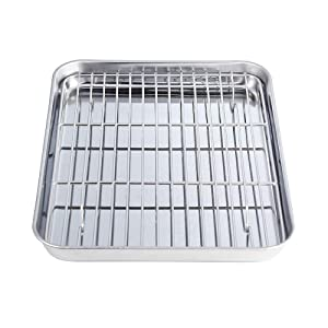 "Stainless Steel Baking Sheet with Rack Set Tray Cookie Sheet & Oven Pan (Size 12 1/2"" x 9 3/4"" x 1"", Non Toxic & Healthy, Rust Free & Less Stick, Thick & Sturdy, Easy Clean & Dishwasher Safe)"
