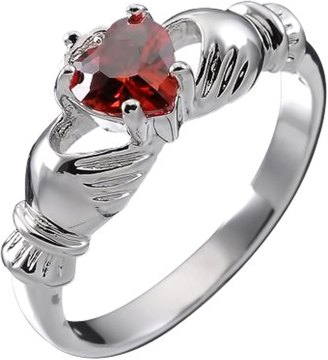 GWG Jewellery Anillos Mujer Regalo Anillo de Claddagh Plata de Ley Dos Manos Que Rodean Corazón de Circonita de Color Rubí Rojo con Corona para Mujeres