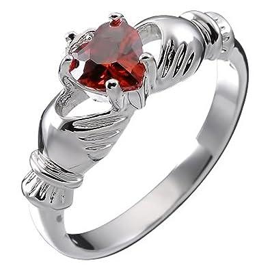 70bfbfdbd41aab GWG® Bague d amour Claddagh pour Femmes en Argent Sterling avec Pierre CZ  Rouge
