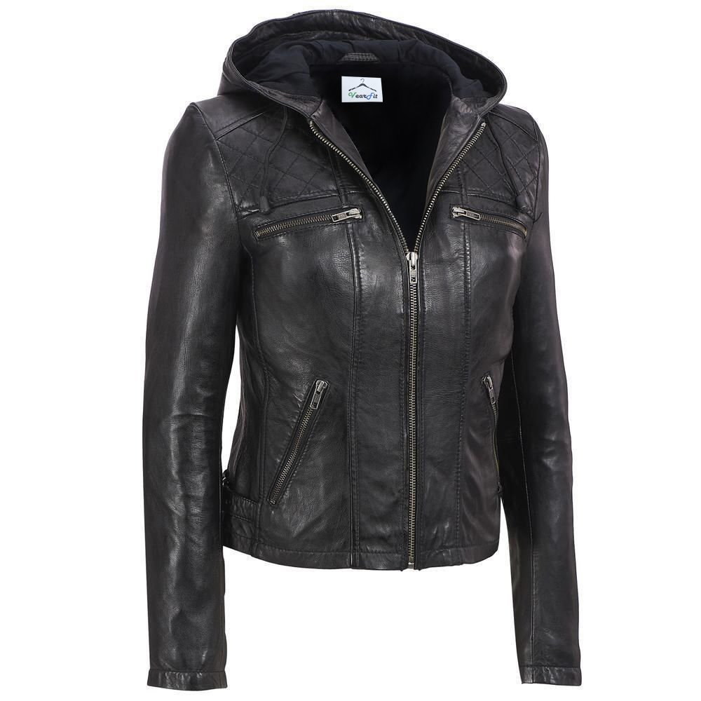VearFit Women's Funterium Quailted Hooded Missy Regular Black Real Leather Jacket HF16-W7B