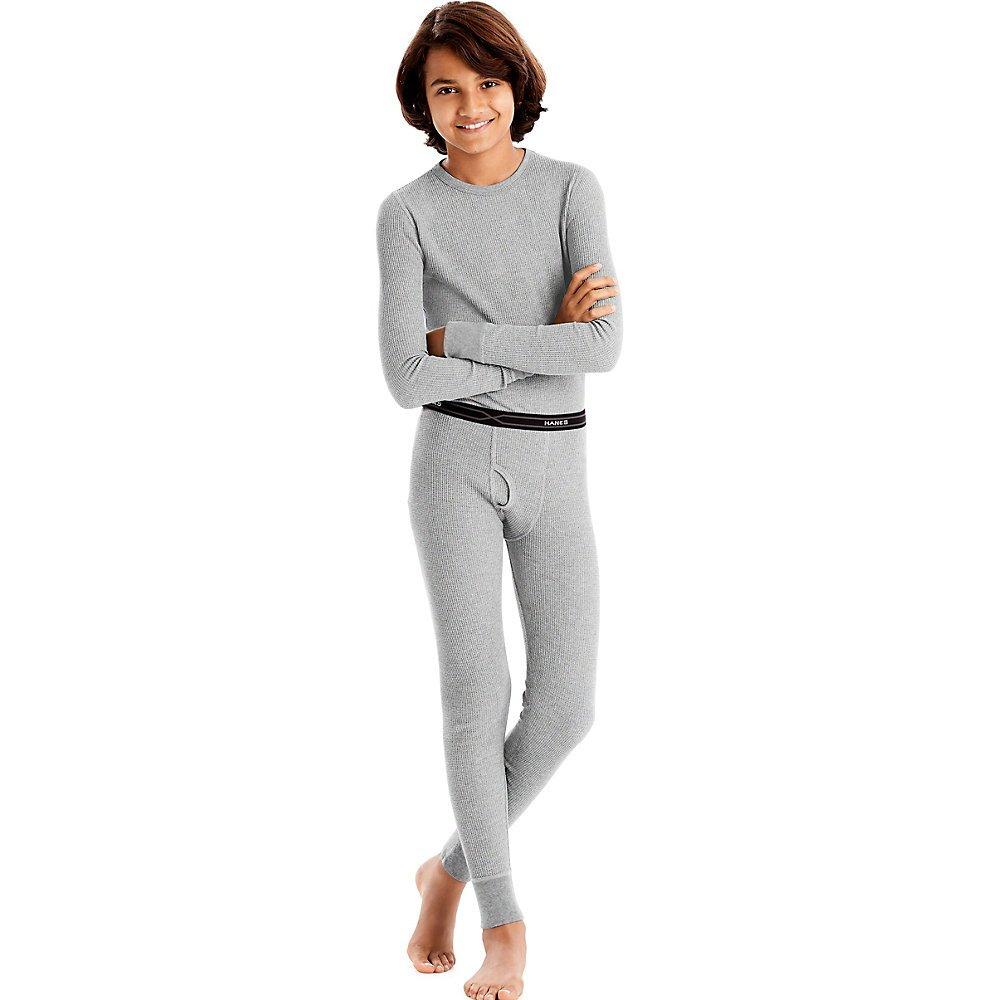 Hanes Boys Thermal X-Temp Underwear Set Heather Grey M 34500