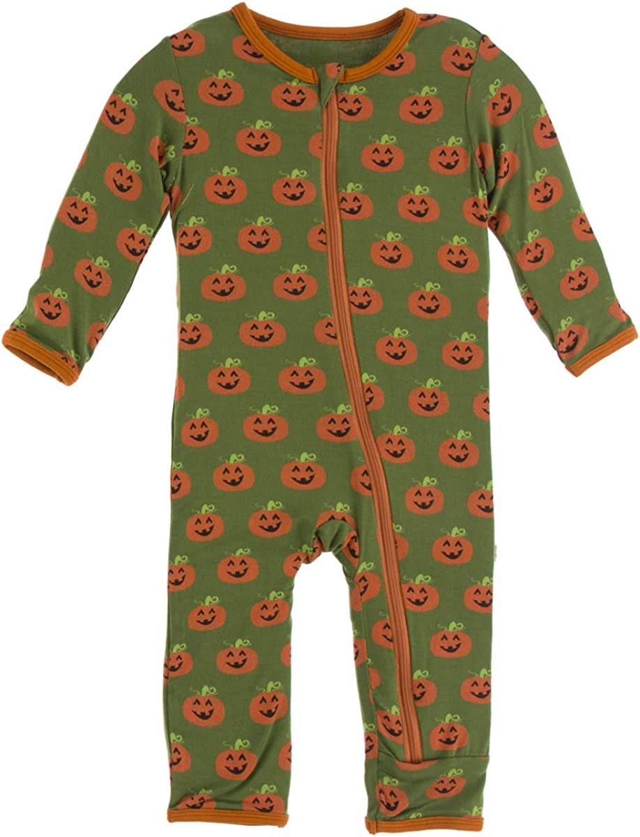 KicKee Pants Celebration Print Coverall with Zipper 0-3 Months Moss Jack OLantern