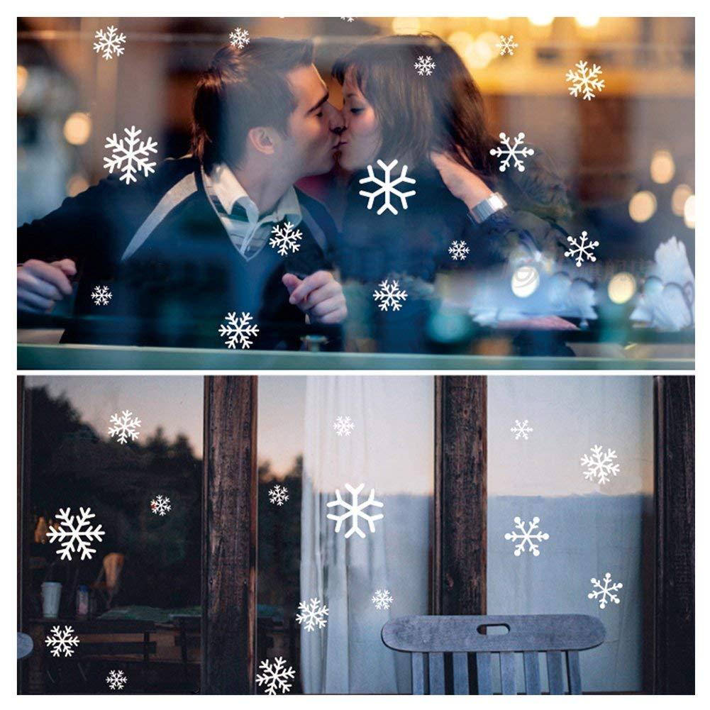 108 Vetrofanie Fiocchi di Neve per Natale Fiocco di Neve Stickers da Vetro Finestra Vetrina Natale Decorazione Fantastiche Adesivi Statici in PVC