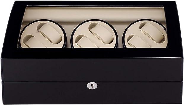 L.HPT Caja para Relojes Automaticos con Bateria 6+7,Watch Winder 6 Pilas de Madera Caja de Reloj Cajas de Relojes Cajas Giratorias Negro: Amazon.es: Deportes y aire libre