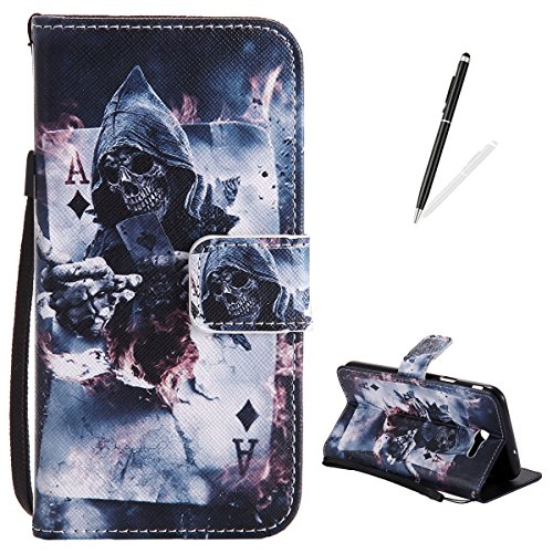 Samsung Galaxy J7(2017)/J720 Flip Leather Case,KaseHom Slim Magnetic Wallet Case [Free Black Stylus] Magician Poker Pattern with Lanyard Card Slots Kickstand Anti-Scratch Protective Skim -