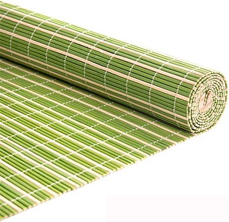 Kwmen Cortina de bambú, Cortinas, persianas de Interior al Aire Libre Superior de Madera Verde al Aire Libre Roller persianas de la Cortina, Patio Pérgola Jardín Cochera Cut Off Cortina de bambú: