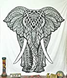 Black and White Elephant Tapestry wall hanging dorm decor Indian Bohemian Tapestry Psychedelic Wall Tapestry Hippie Bedspread Bed Cover Bedding by Jaipur Handloom
