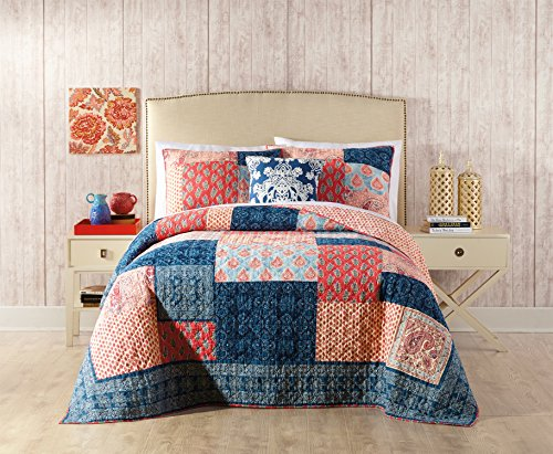 Jessica Simpson A056115MUNDE Grace Quilt, Full/Queen, Blue/Red (Grace Quilt)