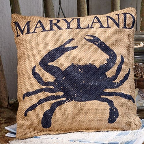 Maryland Blue Crab - Burlap Accent Pillow - 8-in x 8-in