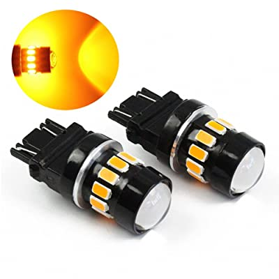 PESIC 2x 3157 3156 3057 16 SMD 5630 Reverse Backup Stop Amber Yellow LED Light Bulbs: Automotive