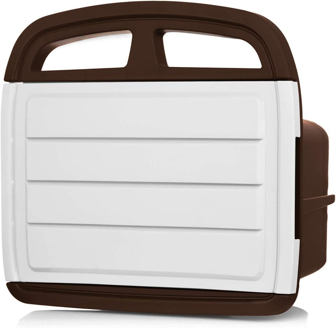 Wall Mount Hose Holder Wall Mount Hose Reel Includes a Compartment for Storing Hose Attachments Wall Mounted Garden Hose Storage Caddy Brown