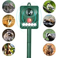 Wonninek Solar Animal Repeller, Ultrasonic Animal Repellent with LED Flashing Light Motion Sensor, Outdoor Waterproof Repellent for Cats, Dogs, Foxes, Birds, Skunks, Rodents