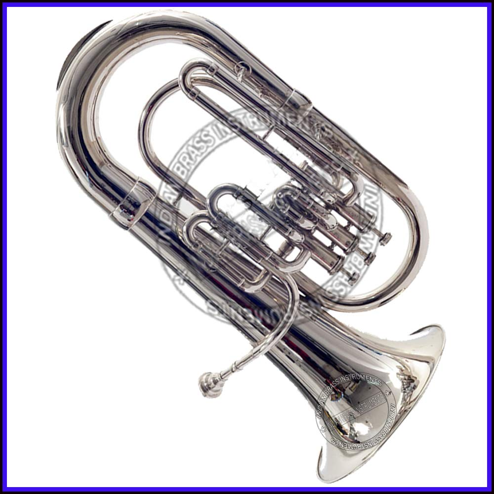 NASIR ALI NEW STUDENT MODEL EUPHONIUM FULL NICKEL LACQUER Bb PITCH WITH FREE CARRY BAG + MOUTH PIECE by NASIR ALI (Image #7)
