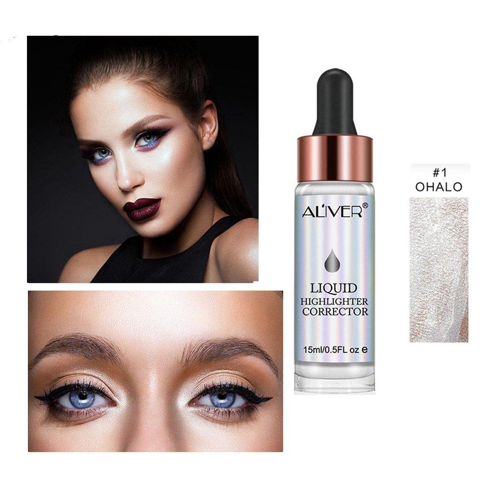 Liquid Highlighter Makeup Glow Face Contour Bronze Make Up, Waterproof Glitter Brighten Shimmer Highlighter (#1)