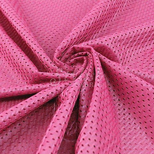 1 Yard Hot Pink Football Mesh Knit Fabric by The Yard