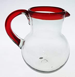 Mexican Glass pitcher, Red Rim, Red handle, hand blown