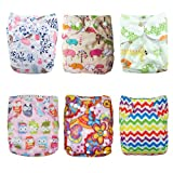 Alva Baby 6pcs Pack Pocket Washable Reusable Cloth Diaper with 2 Inserts Each (Girl Color) 6DM09