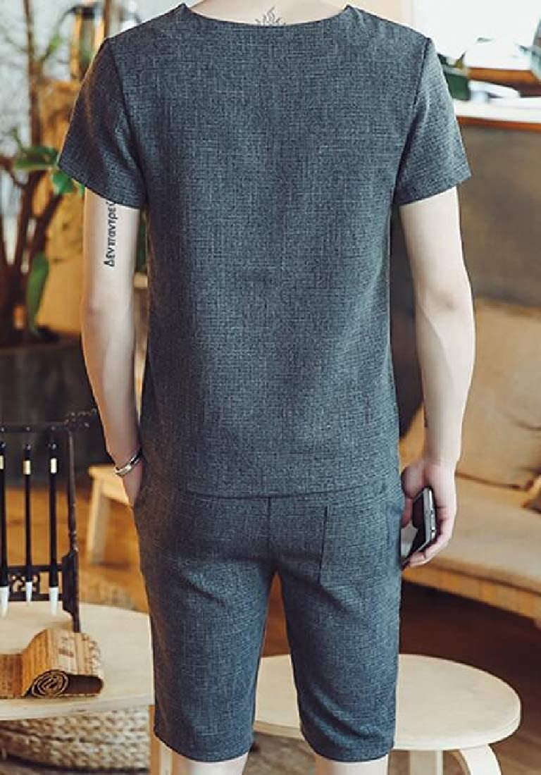 Fensajomon Mens T-Shirts Linen Short Sleeve and Shorts Tracksuit Outfit Set