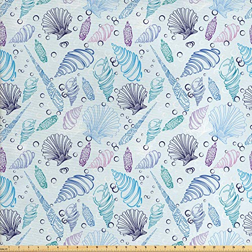 Ambesonne Nautical Fabric by The Yard, Various Sea Shell Pattern Underwater Bubbles Ocean Maritime Print, Decorative Fabric for Upholstery and Home Accents, 2 Yards, Indigo Pale Blue Purple