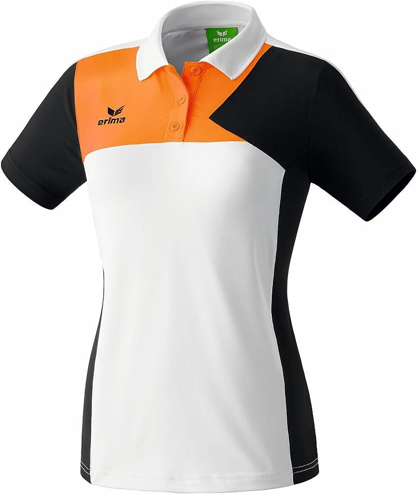 erima Premium One - Polo, Color Blanco, Negro y Naranja neón White ...