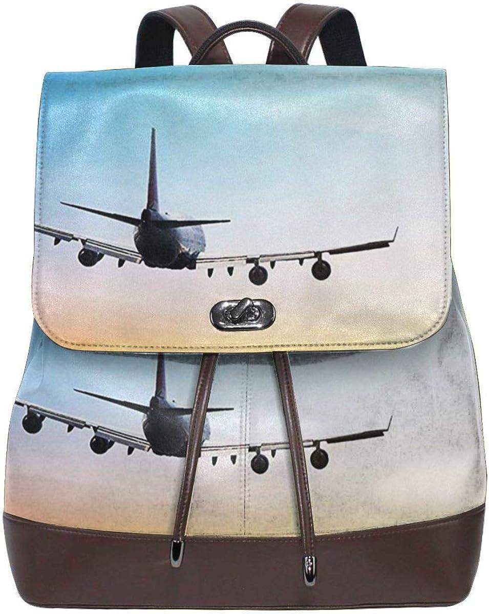 Sacs à Dos Femme Jumbo Jet Airliner Sunset Sky Cuir Cartable