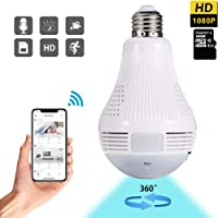 Dekugaa Light Bulb Camera, Include 16GB Card HD 1080P-WiFi 360°2.4GHz Wireless Security IP Panoramic Dome Camera, with…